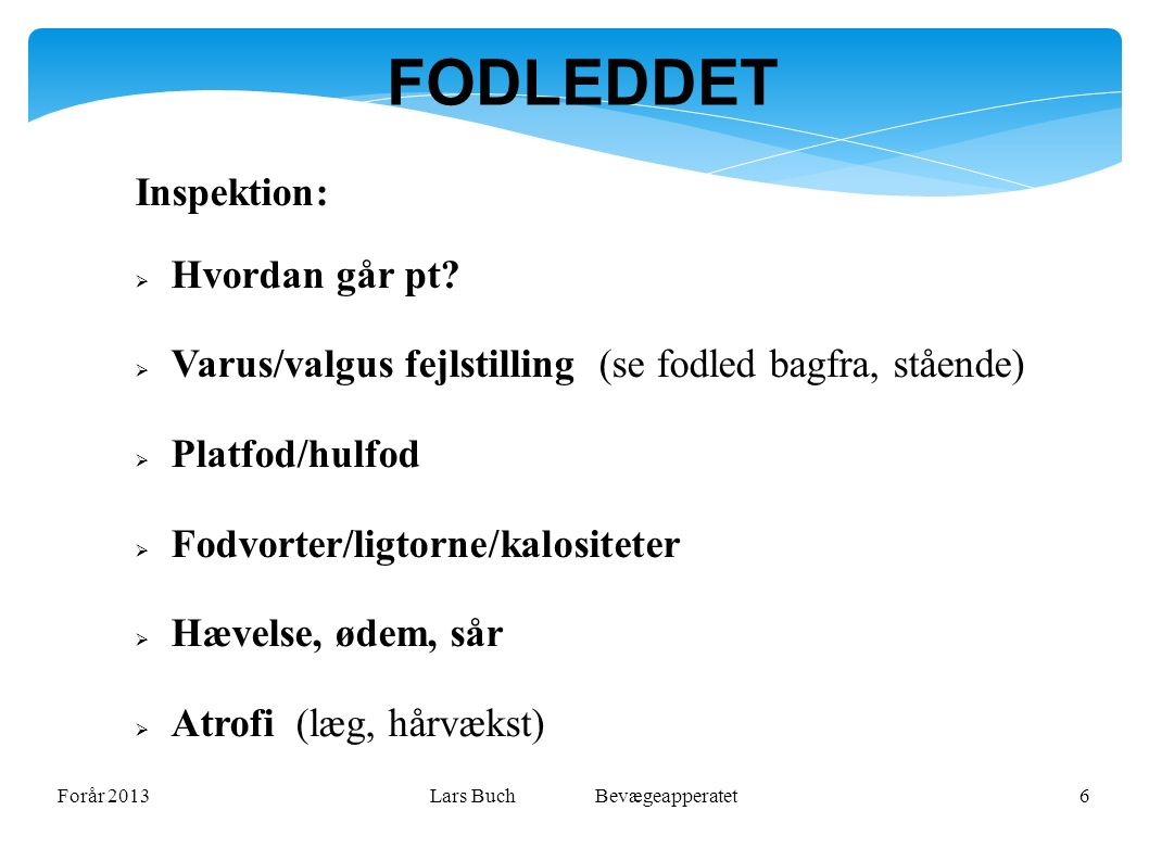 Forår 2013Lars Buch Bevægeapperatet6 FODLEDDET Inspektion:  Hvordan går pt.