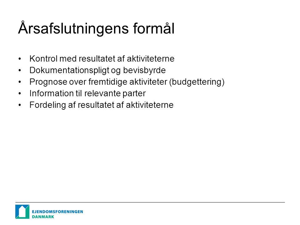 Årsafslutningens formål Kontrol med resultatet af aktiviteterne Dokumentationspligt og bevisbyrde Prognose over fremtidige aktiviteter (budgettering) Information til relevante parter Fordeling af resultatet af aktiviteterne