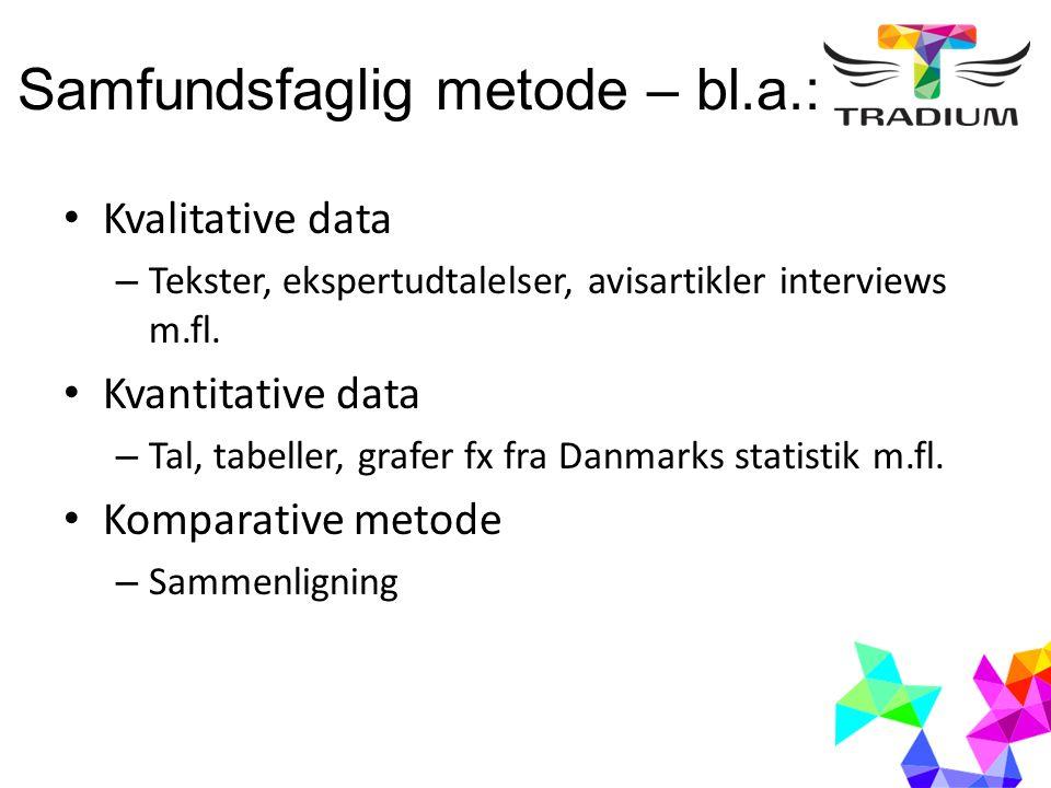 Samfundsfaglig metode – bl.a.: Kvalitative data – Tekster, ekspertudtalelser, avisartikler interviews m.fl. Kvantitative data – Tal, tabeller, grafer