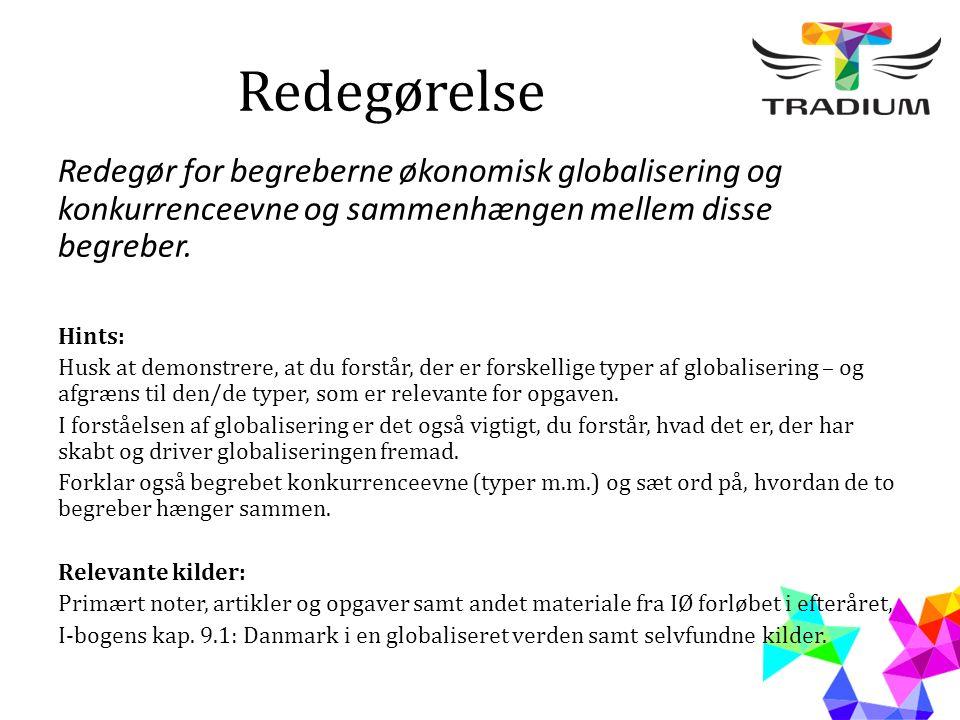 Redegørelse Redegør for begreberne økonomisk globalisering og konkurrenceevne og sammenhængen mellem disse begreber. Hints: Husk at demonstrere, at du