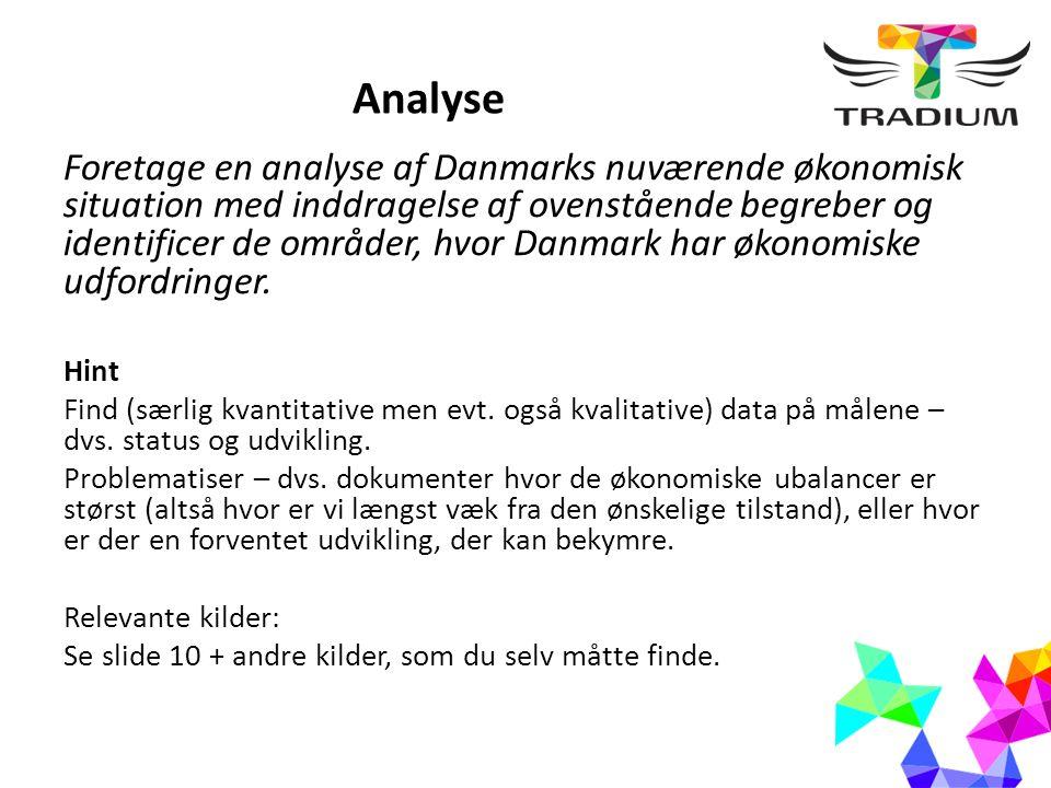 Analyse Foretage en analyse af Danmarks nuværende økonomisk situation med inddragelse af ovenstående begreber og identificer de områder, hvor Danmark har økonomiske udfordringer.