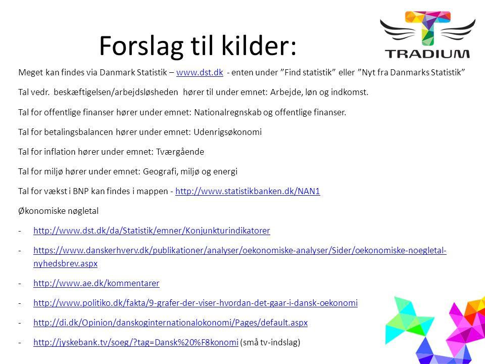 Forslag til kilder - forsat: Social fordeling: Gini-koefficient: http://ec.europa.eu/eurostat/tgm/table.do?tab=table&language=en&pcode=tessi190http://ec.europa.eu/eurostat/tgm/table.do?tab=table&language=en&pcode=tessi190 Indkomstfordeling: http://www.dst.dk/da/Statistik/NytHtml?cid=20653http://www.dst.dk/da/Statistik/NytHtml?cid=20653 Miljø og klima: http://www.dst.dk/da/Statistik/dokumentation/groent-nationalregnskab http://www.efkm.dk/klima-energi-bygningspolitik/dansk-klima-energi-bygningspolitik/klimaindsatsen-danmarkhttp://www.efkm.dk/klima-energi-bygningspolitik/dansk-klima-energi-bygningspolitik/klimaindsatsen-danmark - her kan man bl.a.