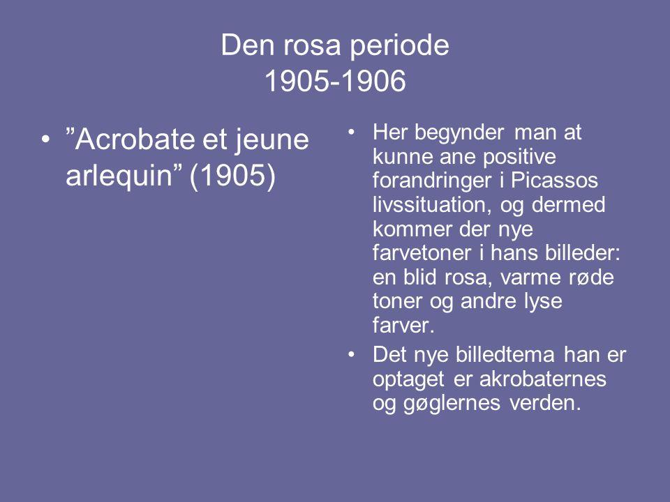 Den rosa periode 1905-1906 Her begynder man at kunne ane positive forandringer i Picassos livssituation, og dermed kommer der nye farvetoner i hans billeder: en blid rosa, varme røde toner og andre lyse farver.