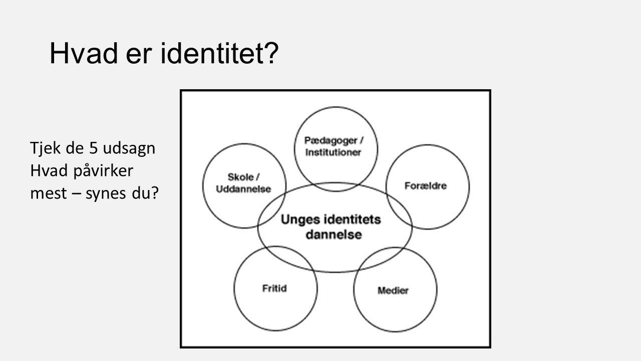 Hvad er identitet Tjek de 5 udsagn Hvad påvirker mest – synes du