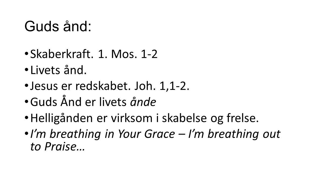 Guds ånd: Skaberkraft. 1. Mos. 1-2 Livets ånd. Jesus er redskabet.