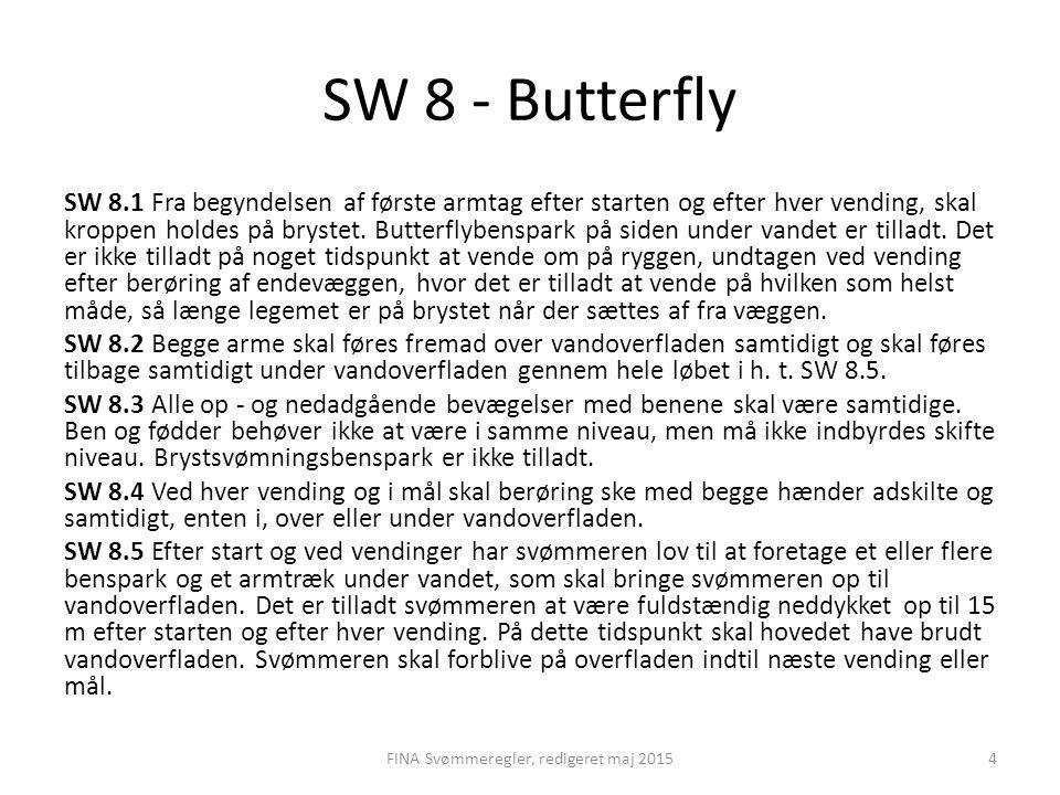 SW 8 - Butterfly SW 8.1 Fra begyndelsen af første armtag efter starten og efter hver vending, skal kroppen holdes på brystet. Butterflybenspark på sid