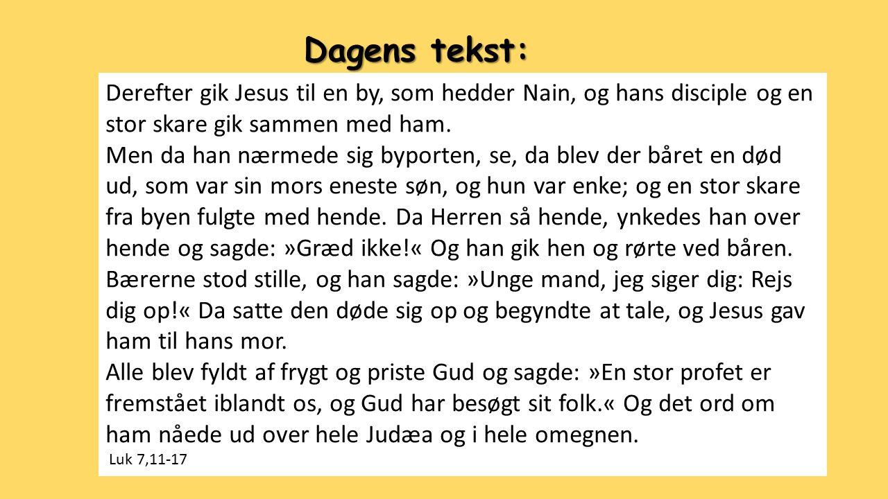 Dagens tekst: Derefter gik Jesus til en by, som hedder Nain, og hans disciple og en stor skare gik sammen med ham.