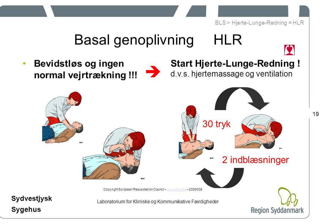 Laboratorium for Kliniske og Kommunikative Færdigheder Sydvestjysk Sygehus 19 Basal genoplivning HLR Bevidstløs og ingen normal vejrtrækning !!.