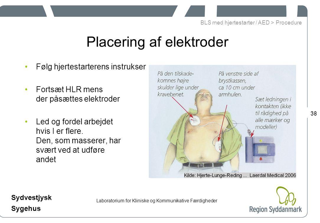Laboratorium for Kliniske og Kommunikative Færdigheder Sydvestjysk Sygehus 38 Placering af elektroder Følg hjertestarterens instrukser Fortsæt HLR mens der påsættes elektroder Led og fordel arbejdet hvis I er flere.