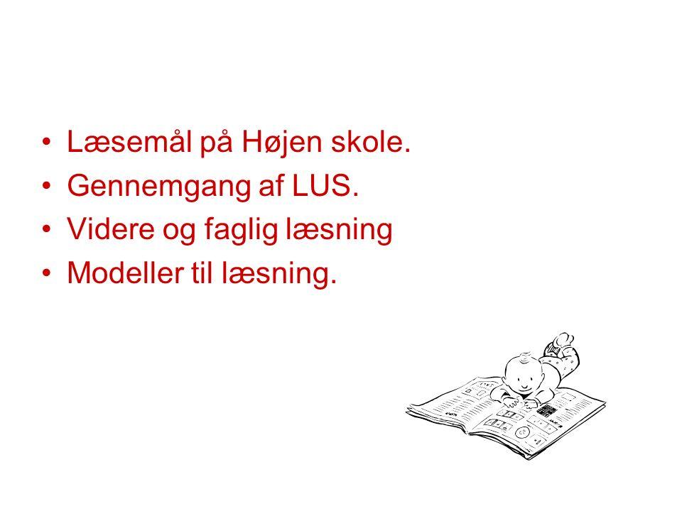 Læsemål på Højen skole. Gennemgang af LUS. Videre og faglig læsning Modeller til læsning.