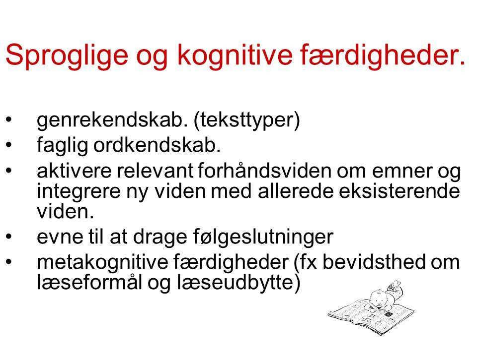 Sproglige og kognitive færdigheder. genrekendskab.