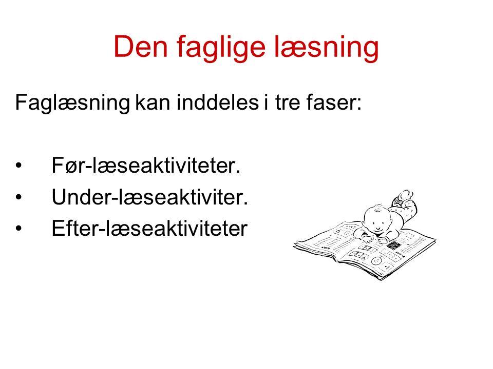 Den faglige læsning Faglæsning kan inddeles i tre faser: Før-læseaktiviteter.