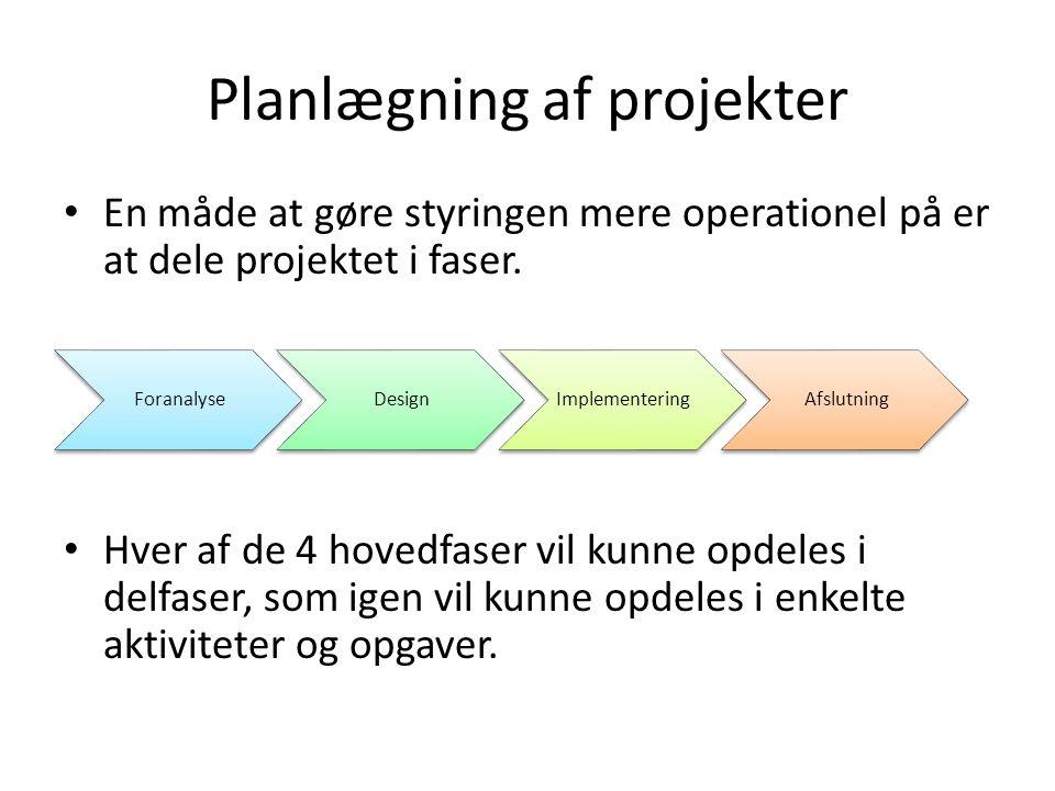 Planlægning af projekter En måde at gøre styringen mere operationel på er at dele projektet i faser.