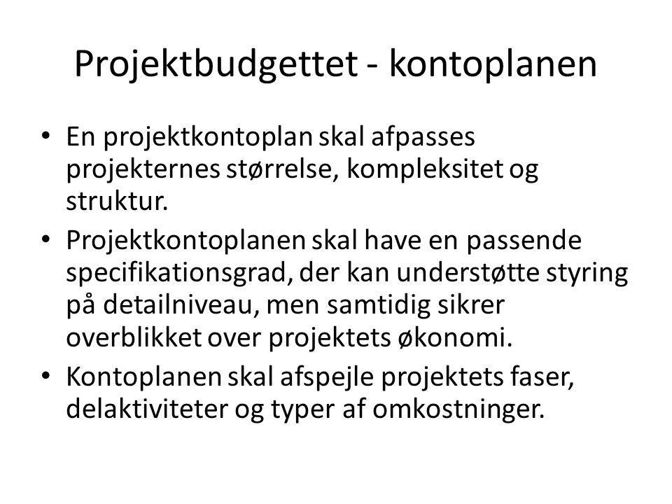 Projektbudgettet - kontoplanen En projektkontoplan skal afpasses projekternes størrelse, kompleksitet og struktur.