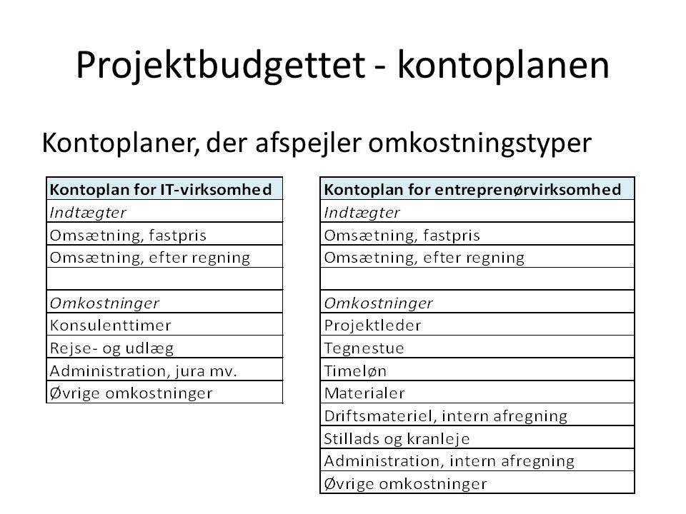 Projektbudgettet - kontoplanen Kontoplaner, der afspejler omkostningstyper