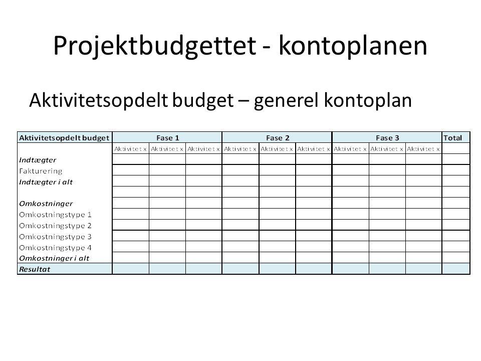 Projektbudgettet - kontoplanen Aktivitetsopdelt budget – generel kontoplan
