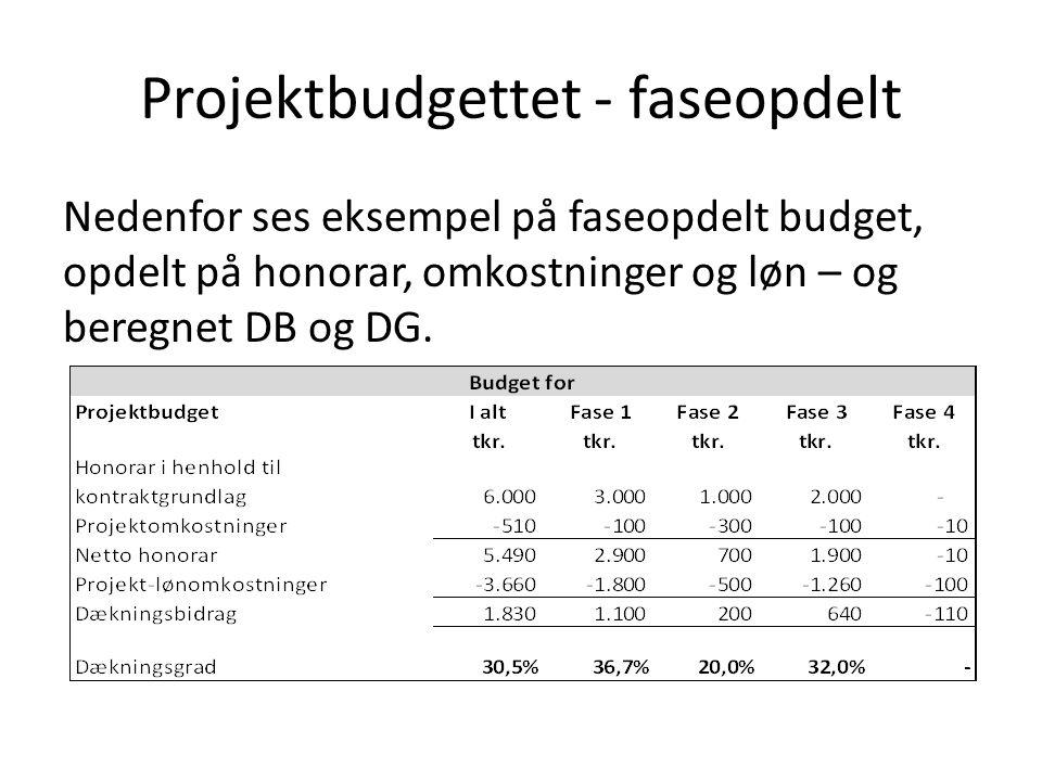 Projektbudgettet - faseopdelt Nedenfor ses eksempel på faseopdelt budget, opdelt på honorar, omkostninger og løn – og beregnet DB og DG.