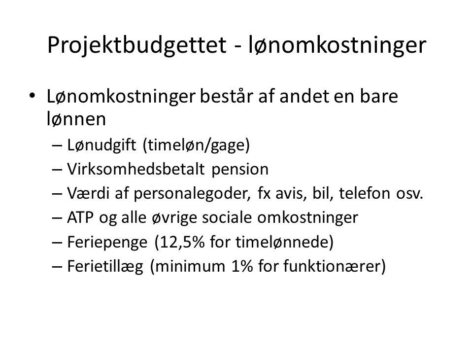 Projektbudgettet - lønomkostninger Lønomkostninger består af andet en bare lønnen – Lønudgift (timeløn/gage) – Virksomhedsbetalt pension – Værdi af personalegoder, fx avis, bil, telefon osv.
