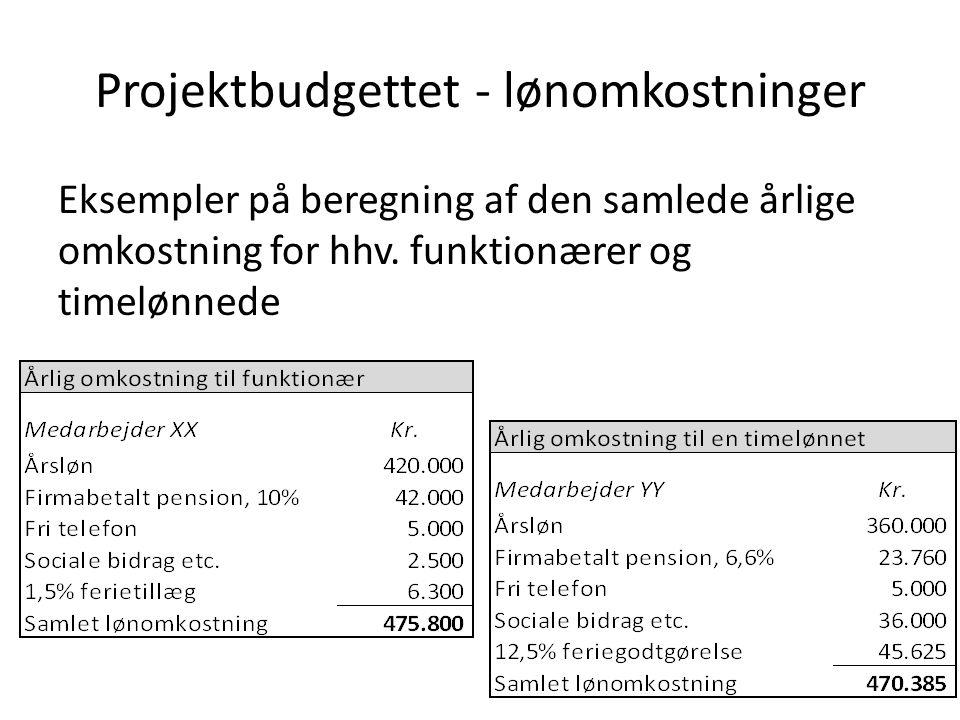 Projektbudgettet - lønomkostninger Eksempler på beregning af den samlede årlige omkostning for hhv.