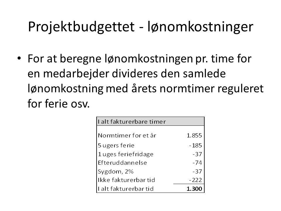 Projektbudgettet - lønomkostninger For at beregne lønomkostningen pr.