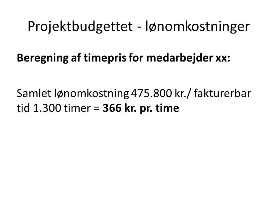 Projektbudgettet - lønomkostninger Beregning af timepris for medarbejder xx: Samlet lønomkostning 475.800 kr./ fakturerbar tid 1.300 timer = 366 kr.