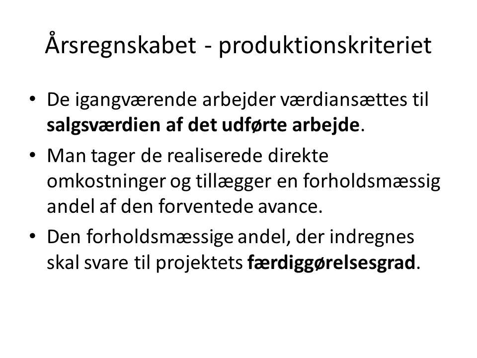 Årsregnskabet - produktionskriteriet De igangværende arbejder værdiansættes til salgsværdien af det udførte arbejde.
