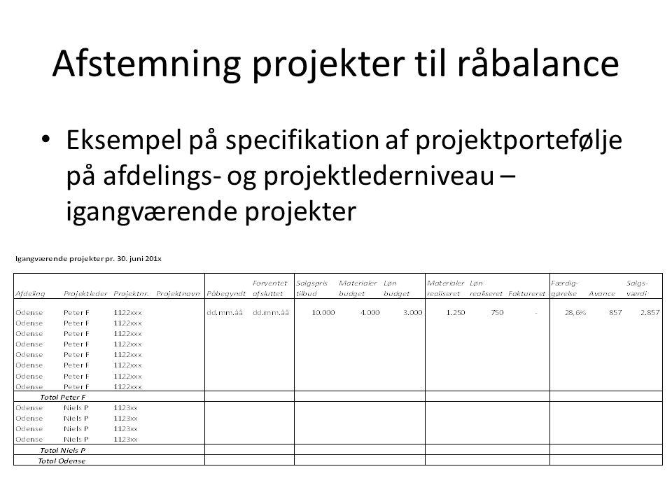 Eksempel på specifikation af projektportefølje på afdelings- og projektlederniveau – igangværende projekter