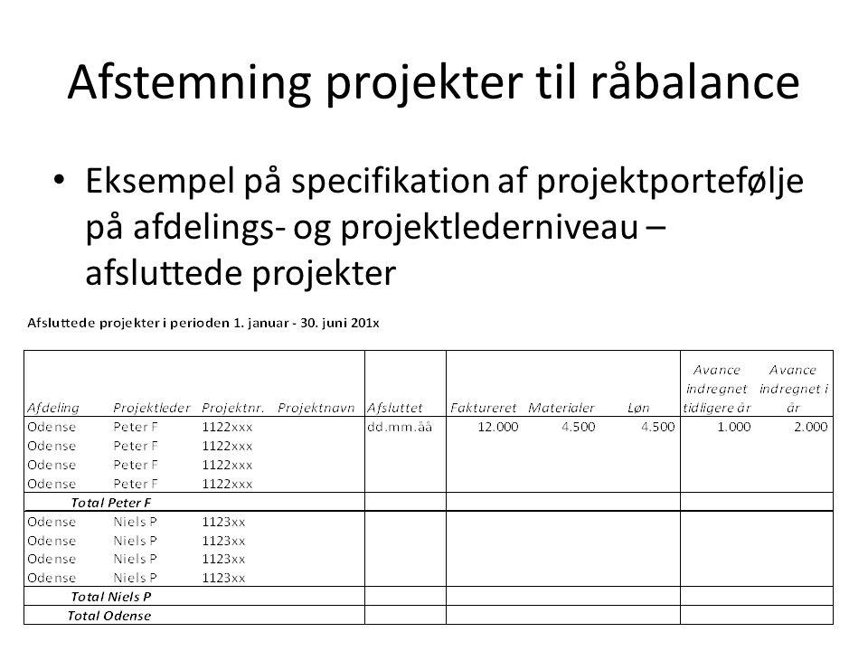 Afstemning projekter til råbalance Eksempel på specifikation af projektportefølje på afdelings- og projektlederniveau – afsluttede projekter