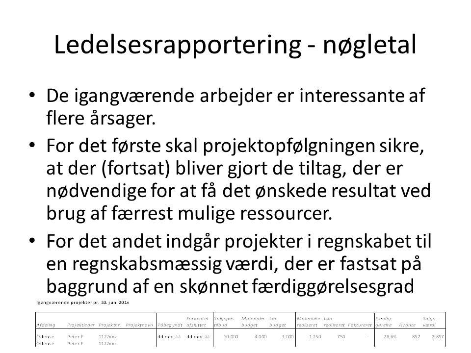 Ledelsesrapportering - nøgletal De igangværende arbejder er interessante af flere årsager.