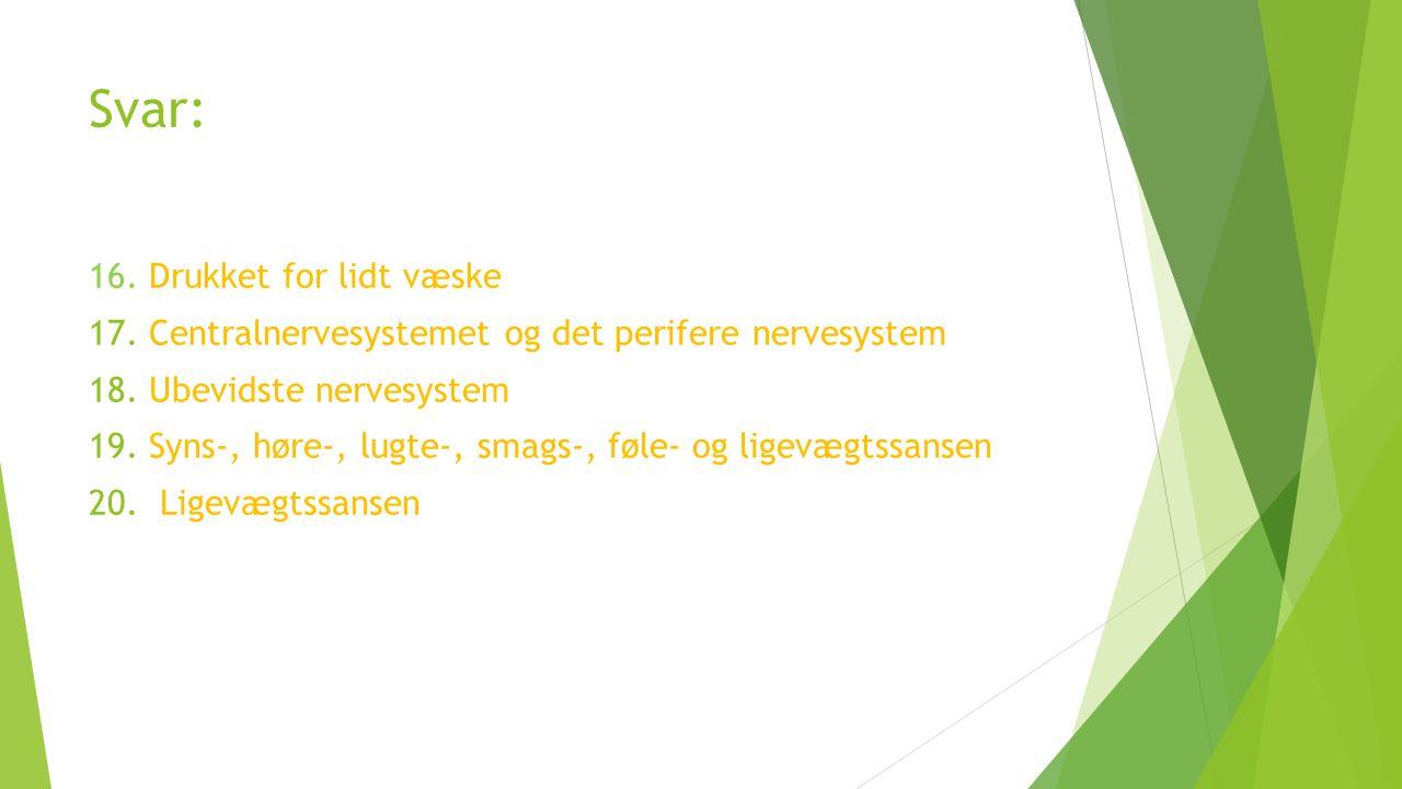 Svar: 16. Drukket for lidt væske 17. Centralnervesystemet og det perifere nervesystem 18.