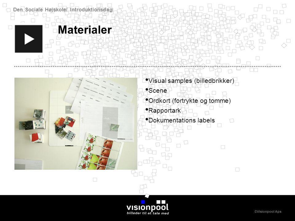 Den Sociale Højskole/ Introduktionsdag ©Visionpool Aps Materialer Visual samples (billedbrikker) Scene Ordkort (fortrykte og tomme) Rapportark Dokumentations labels