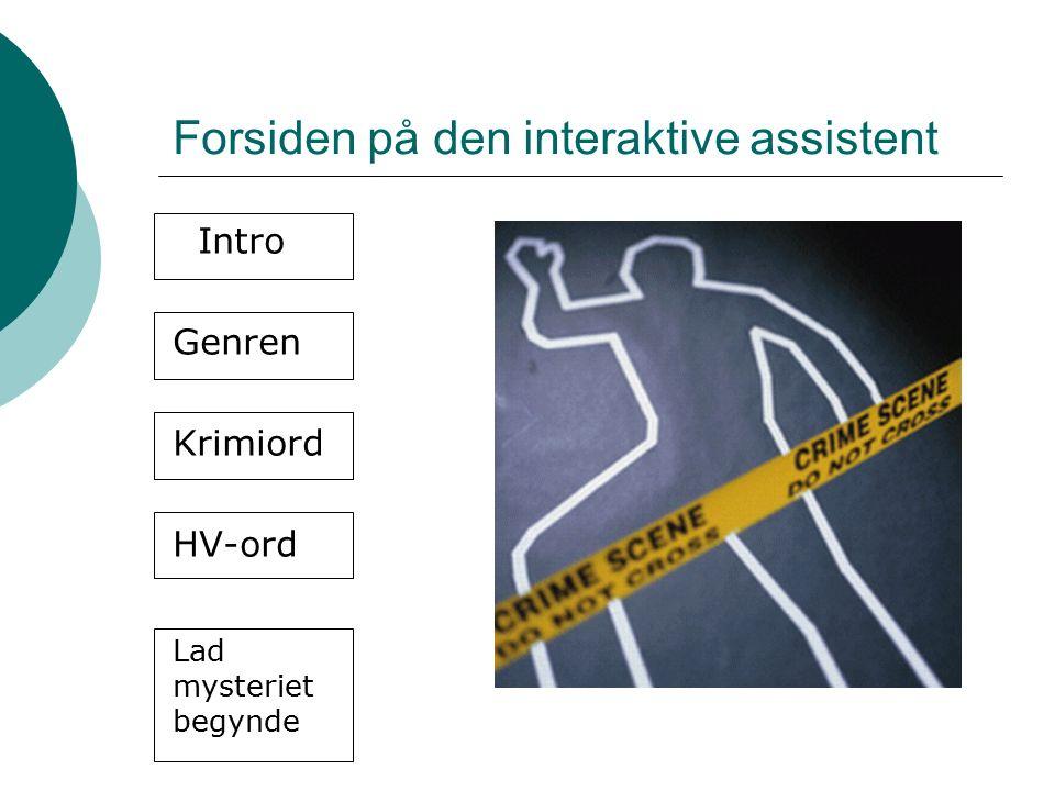 Forsiden på den interaktive assistent Intro Genren Krimiord HV-ord Lad mysteriet begynde