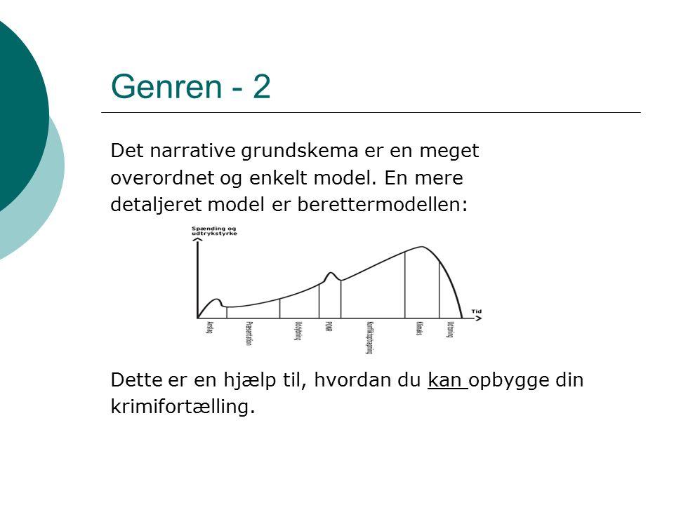 Genren - 2 Det narrative grundskema er en meget overordnet og enkelt model.
