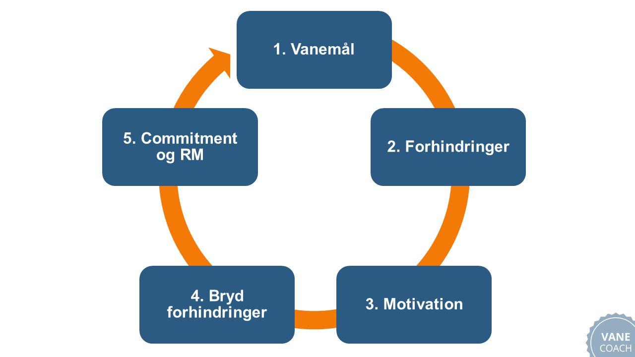 1. Vanemål2. Forhindringer3. Motivation 4. Bryd forhindringer 5. Commitment og RM
