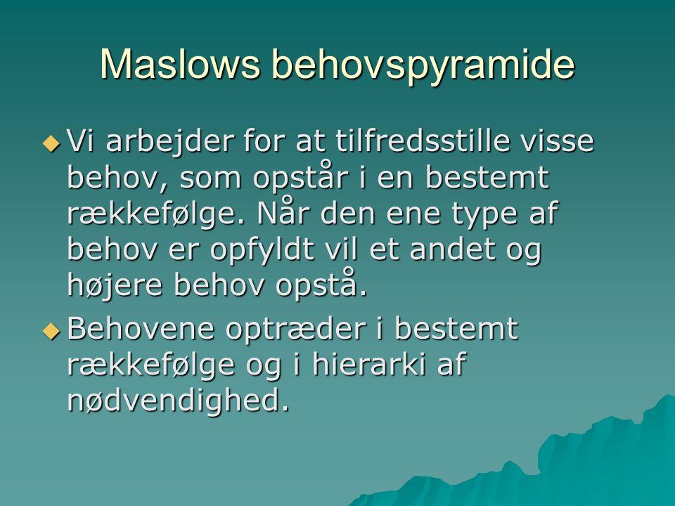 Maslows behovspyramide  Vi arbejder for at tilfredsstille visse behov, som opstår i en bestemt rækkefølge.