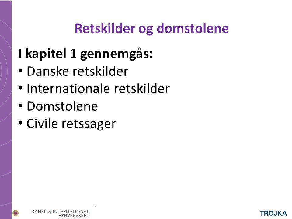 I kapitel 1 gennemgås: Danske retskilder Internationale retskilder Domstolene Civile retssager