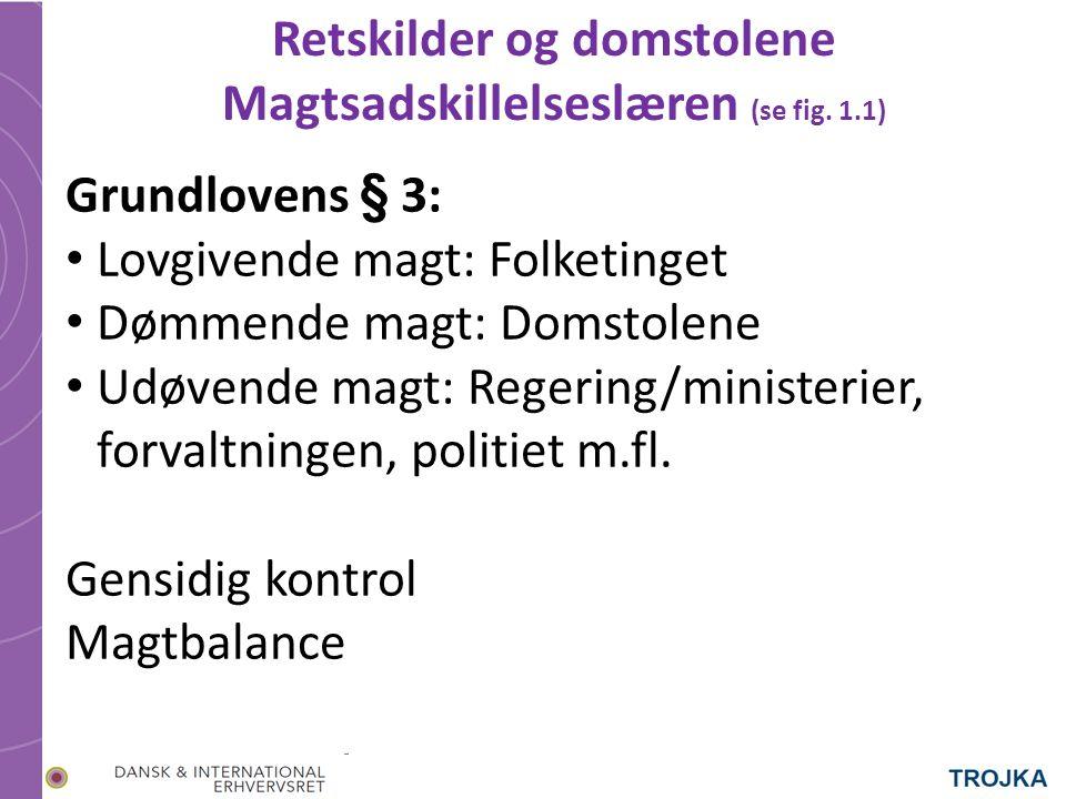 Retskilder og domstolene Magtsadskillelseslæren (se fig.