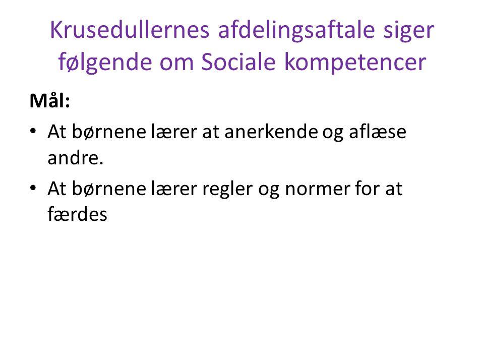 Krusedullernes afdelingsaftale siger følgende om Sociale kompetencer Mål: At børnene lærer at anerkende og aflæse andre.