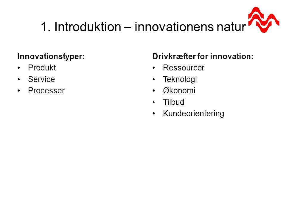 1. Introduktion – innovationens natur Rammebetingelser for iværksætteri: