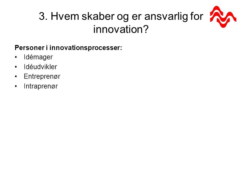3. Hvem skaber og er ansvarlig for innovation.