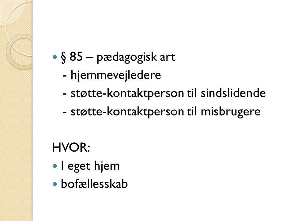 § 85 – pædagogisk art - hjemmevejledere - støtte-kontaktperson til sindslidende - støtte-kontaktperson til misbrugere HVOR: I eget hjem bofællesskab