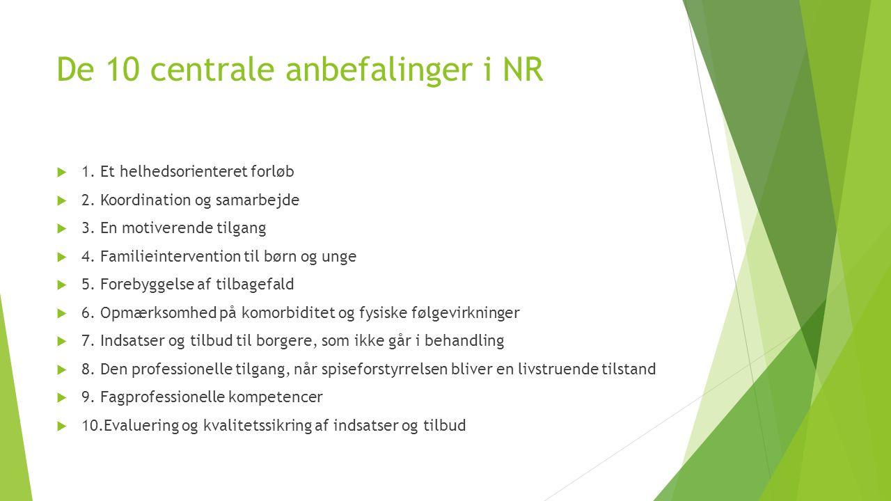 De 10 centrale anbefalinger i NR  1. Et helhedsorienteret forløb  2.