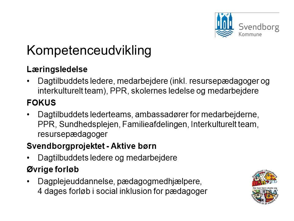 Kompetenceudvikling Læringsledelse Dagtilbuddets ledere, medarbejdere (inkl.