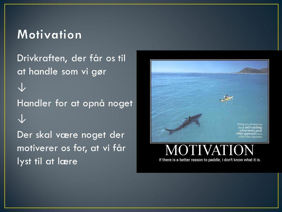 Drivkraften, der får os til at handle som vi gør ↓ Handler for at opnå noget ↓ Der skal være noget der motiverer os for, at vi får lyst til at lære