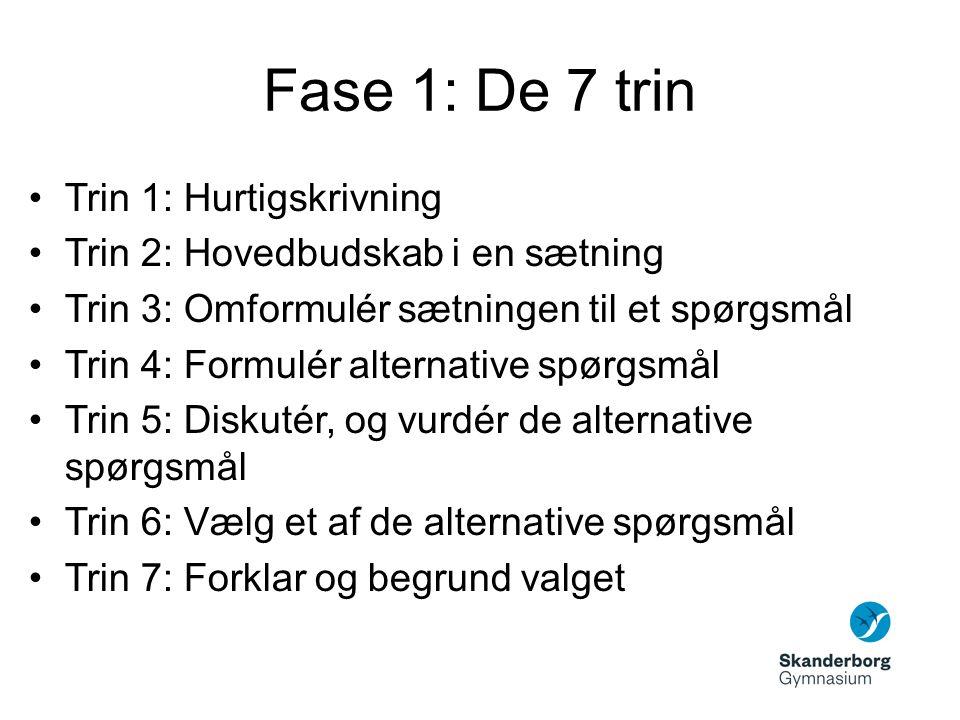 Fase 1: De 7 trin Trin 1: Hurtigskrivning Trin 2: Hovedbudskab i en sætning Trin 3: Omformulér sætningen til et spørgsmål Trin 4: Formulér alternative spørgsmål Trin 5: Diskutér, og vurdér de alternative spørgsmål Trin 6: Vælg et af de alternative spørgsmål Trin 7: Forklar og begrund valget