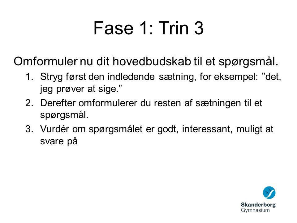 Fase 1: Trin 4 Formuler alternative versioner af det spørgsmål, som du sidder med fra forrige trin.