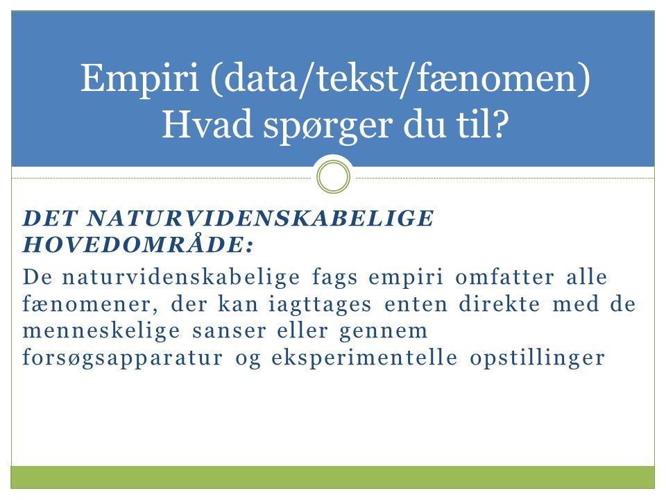 Empiri (data/tekst/fænomen) Hvad spørger du til.