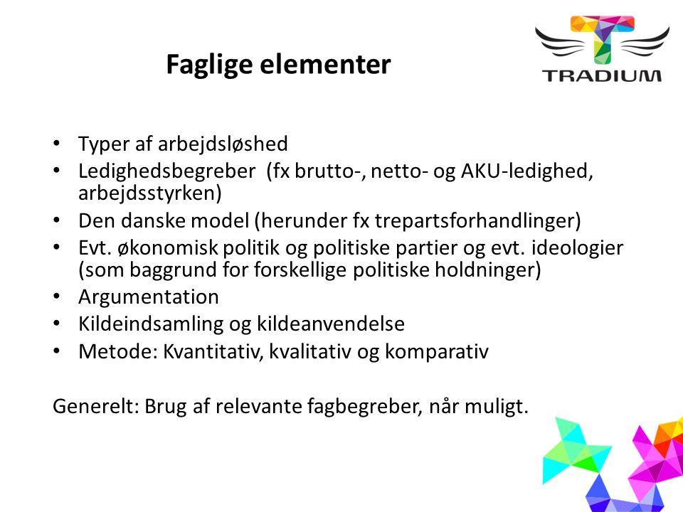 Faglige elementer Typer af arbejdsløshed Ledighedsbegreber (fx brutto-, netto- og AKU-ledighed, arbejdsstyrken) Den danske model (herunder fx trepartsforhandlinger) Evt.