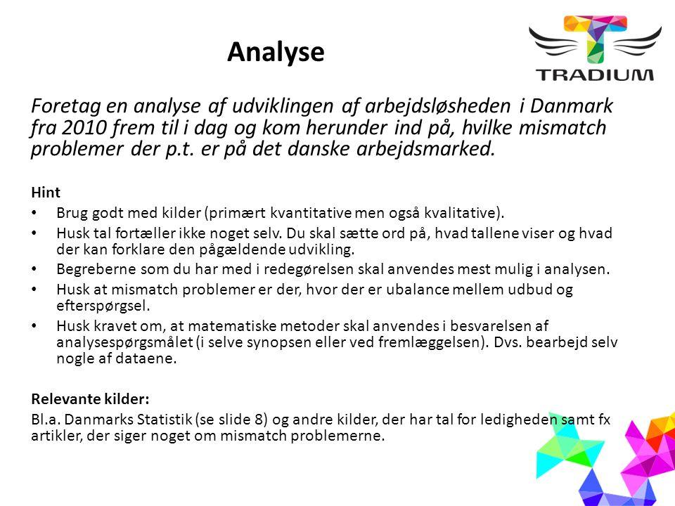 Analyse Foretag en analyse af udviklingen af arbejdsløsheden i Danmark fra 2010 frem til i dag og kom herunder ind på, hvilke mismatch problemer der p.t.