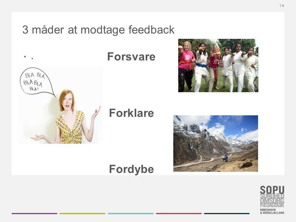 Tekstslide med bullets Brug 'Forøge / Formindske indryk' for at skifte mellem de forskellige niveauer 3 måder at modtage feedback.